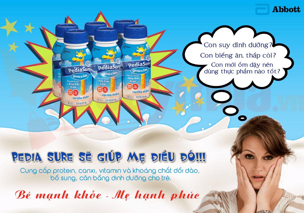 Sữa nước Pediasure sẽ là giải pháp cho các mẹ