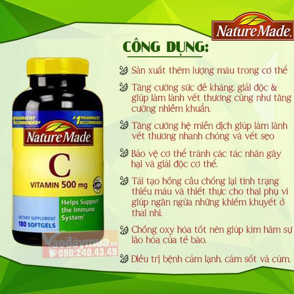Công dụng chínhViên uống bổ sung Vitamin C Nature Made 500mg