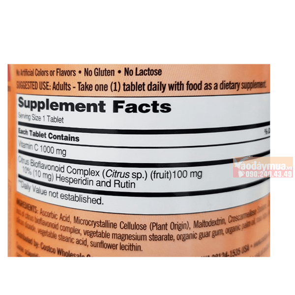 Thành phần chính có trongViên uống bổ sung Vitamin C của Mỹ 1000mg Kirkland 500 viên