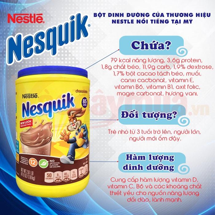 Thông tin thêm về bột cacao Nestle Nesquik