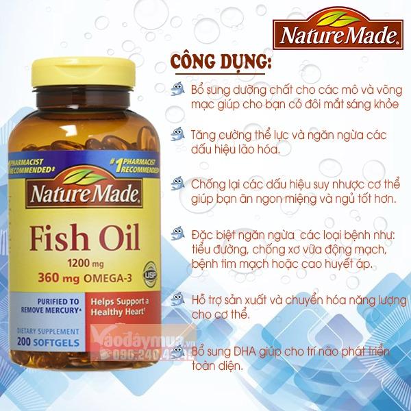 Công dụng chính có trongDầu cá cao cấp Nature Made Fish Oil Omega 3 1200mg 360mg