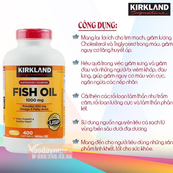 Công dụng chính từ dầu cá Omega 3 Fish Oil 1000mg của Mỹ