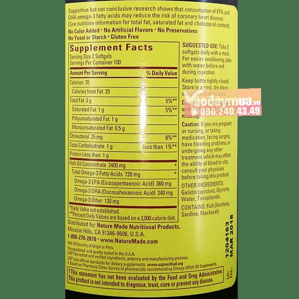 Thành phần dưỡng chất quan trọngDầu cá cao cấp Nature Made Fish Oil Omega 3 1200mg 360mg