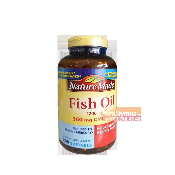 Hình ảnh tổng thể Dầu cá cao cấp Nature Made Fish Oil Omega 3 1200mg 360mg