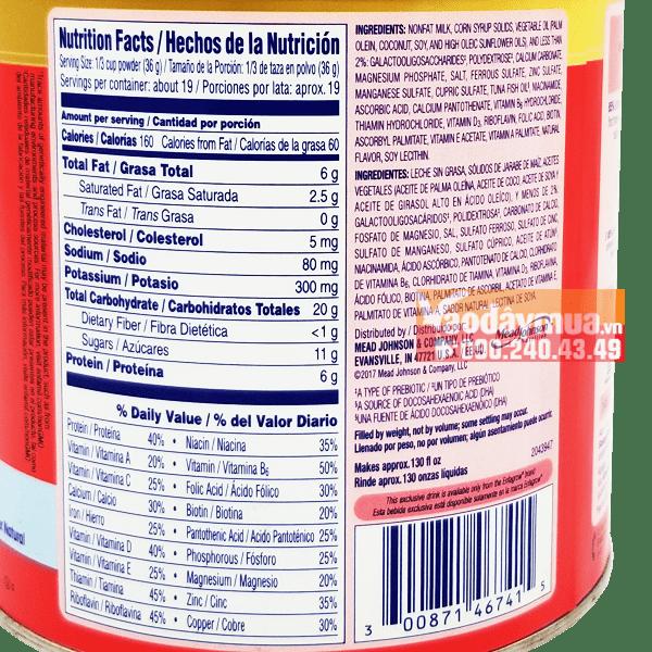 Thành phần dinh dưỡng và khoáng chất trong sữa Enfagrow
