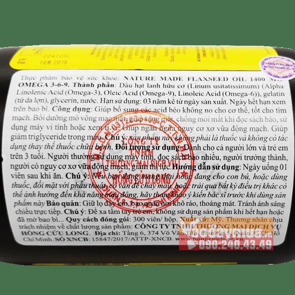 Nhãn phụ, mộc đỏ và tem chống hàng giả của Flaxseed Oil 1400mg của Mỹ tại Vaodaymua.vn