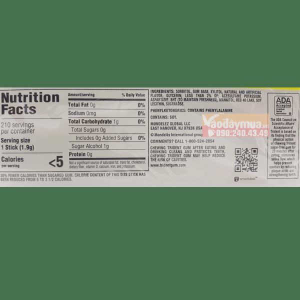 Thành phần tổng hợp có trong kẹo cao suChewing Gum Trident của Mỹ