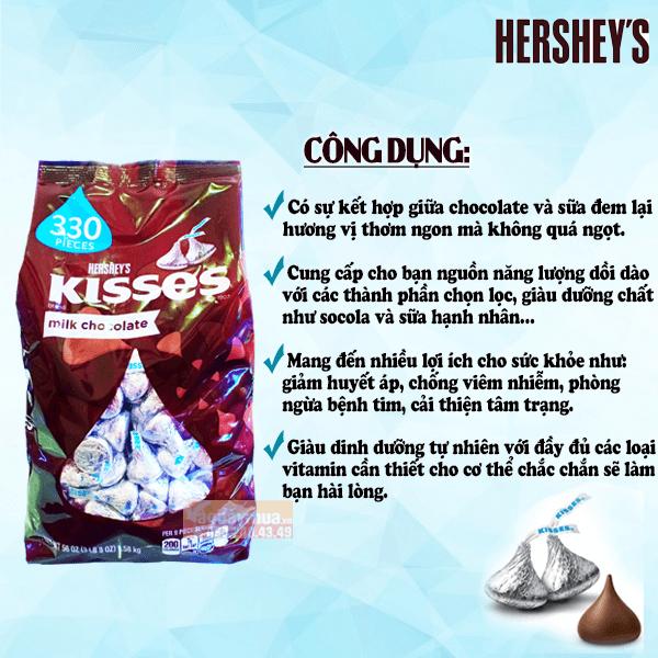 Công dụng chính củakẹo chocolateHershey's Kisses Milk của Mỹ