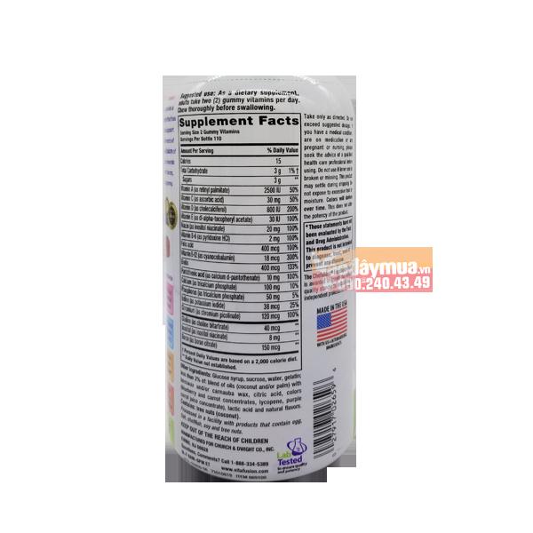 Hàm lượng dinh dưỡng có trongKẹo dẻo canxi của Mỹ dành cho phụ nữ Vitafusion Women's Multivitamin