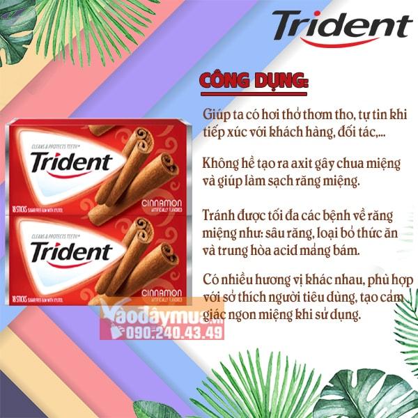 Công dụng chínhtrong kẹo cao suChewing Gum Trident