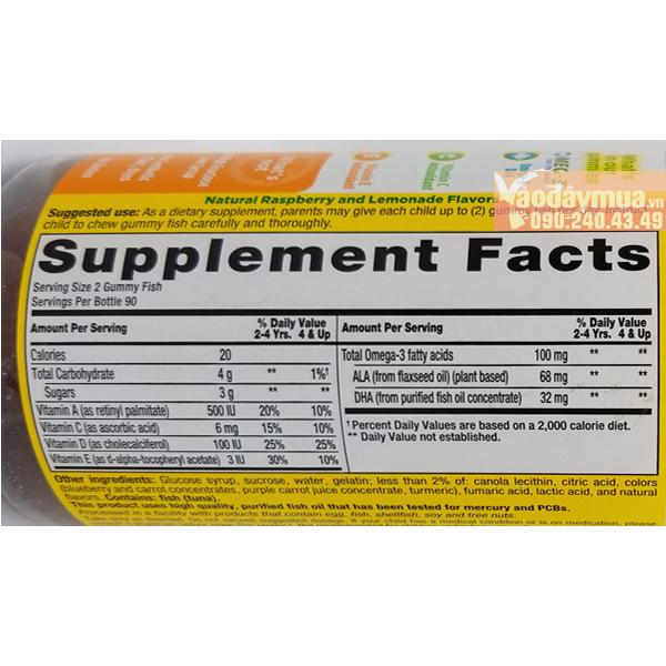 Thành phần dưỡng chất có trongkẹo gấu dẻo gummy bổ sung Omega 3 và DHA L'il Critters Gummy Fish
