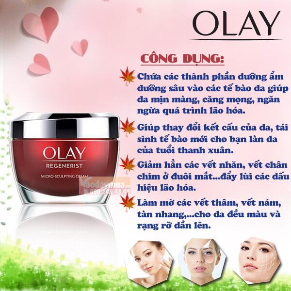 Công dụng chính củaKem dưỡng ẩm chống lão hóa Olay Regenerist Micro-Sculpting Cream Mỹ