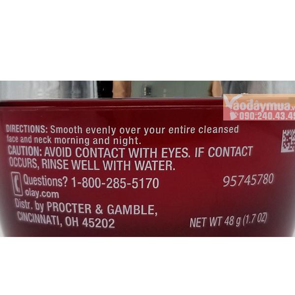 Thành phần dưỡng chất có trongkem dưỡng ẩm chống lão hóa Olay Regenerist Micro-Sculpting Cream Mỹ