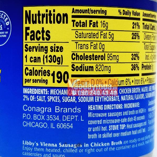 Thành phần dưỡng chất có trongxúc Xích hộp Libbys Vienna Sausage 130g của Mỹ