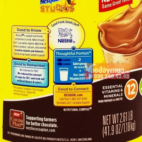 Thông tin hướng dẫn về Bột cacao Nestle