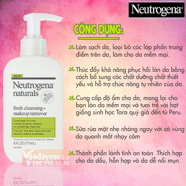 Công dụng chính có trongSữa rửa mặt Neutrogena Fresh Cleansing + Makeup Remover