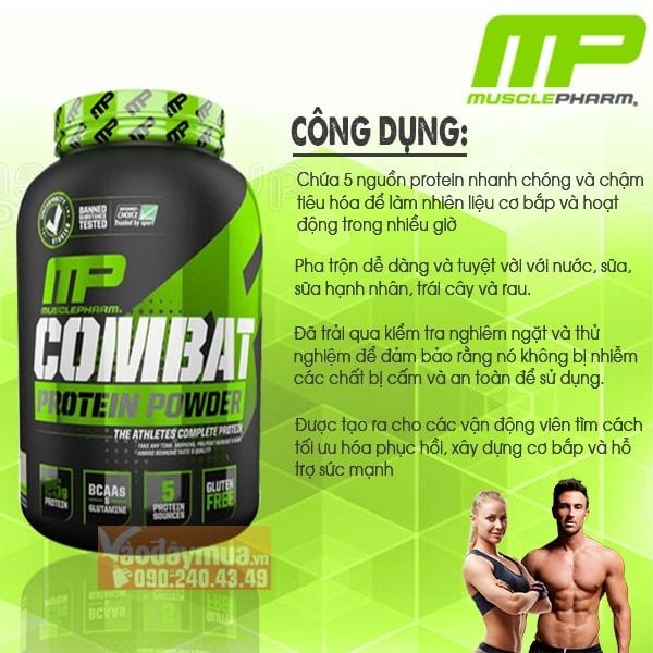 Công dụng chính có trongsữa tăng cơ Musclepharm Combat Protein
