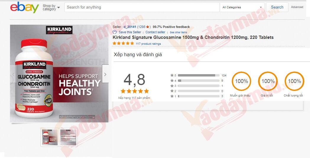 Review viên uống điều trị đau nhức Kirkland Glucosamine 1500mg & Chondroitin 1200mg trên Ebay