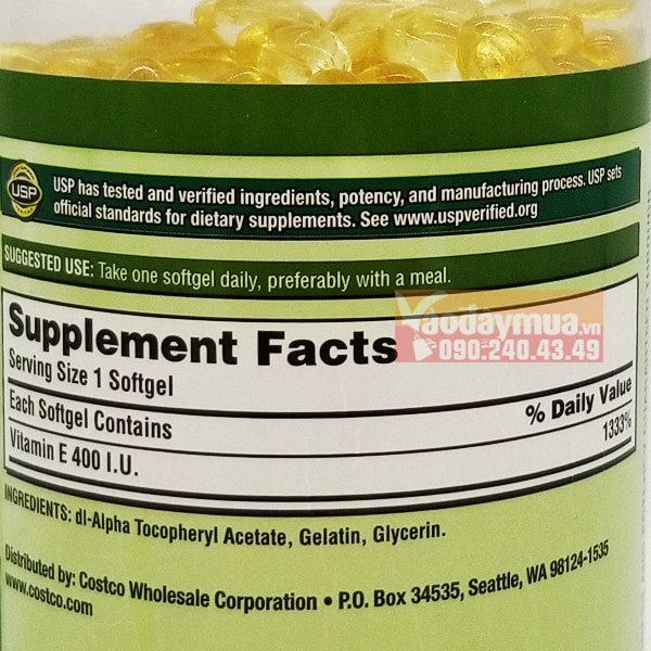 Thành phần Vitamin E 400IU chiếm đến 1333% dưỡng chất