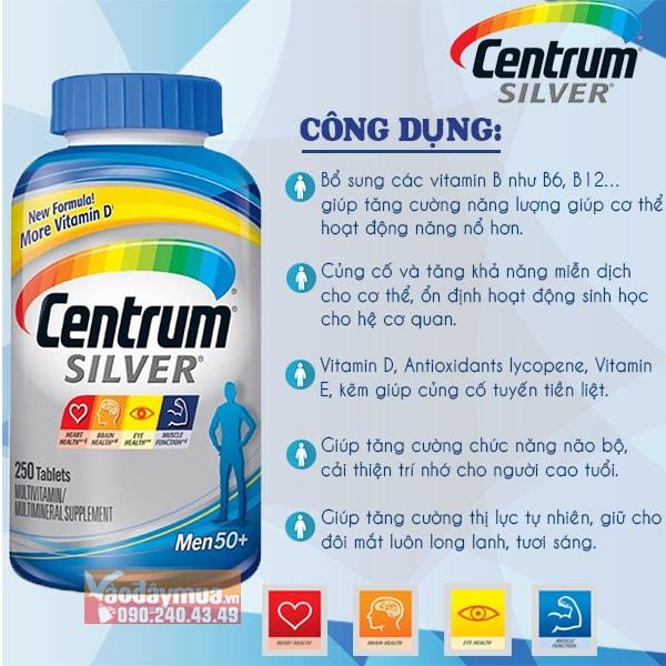 Công dụng chính trong viên uống vitamin và khoáng chất Centrum Silver Men's 50+