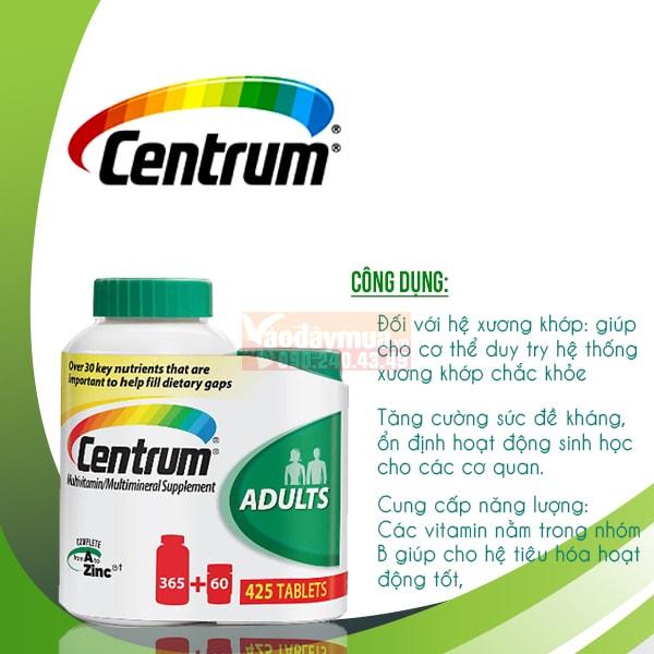 Công dụng chính của viên uống Centrum Multivitamin 425 viên của Mỹ