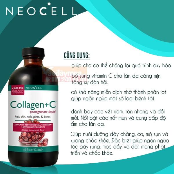 Công dụng chính củaNước uống Neocell Collagen + C Pomegranate 4000 mg Mỹ