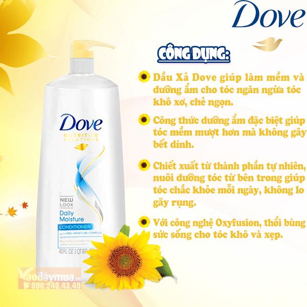 Công dụng chínhtừ dầu xả Dove phục hồi hư tổn tóc của Mỹ