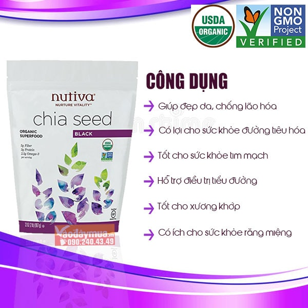 Công dụng chínhtừ Hạt chia đen hữu cơ Nutiva Organic Chia Seed Black của Mỹ