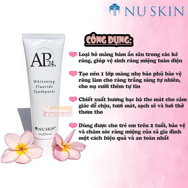 Công dụng chính từkem Đánh Răng AP24 Whitening Fluoride Toothpaste Mỹ