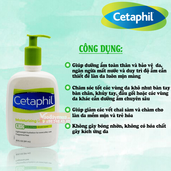 công dụng đặc biệt của kem dưỡng da mặt cetaphil của Mỹ