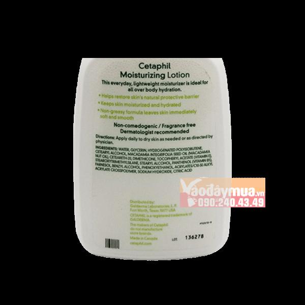 Tổng thể chi tiết mặt sau củakem dưỡng ẩm dưỡng thể Cetaphil của Mỹ