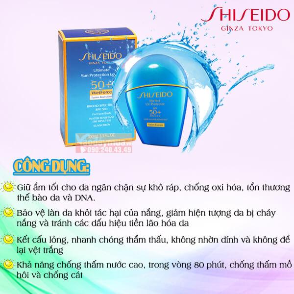Công dụng chính củaKem chống nắng Shiseido Ultimate Sun Protection Lotion Wetforce SPF 50+ Mỹ