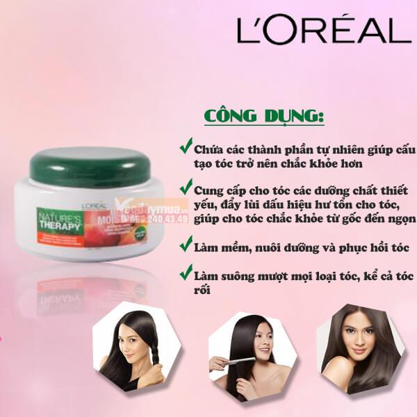 Công dụng chính củakem ủ tóc L'oreal Natures Therapy Mega Moisture Nurturing Creme Mỹ