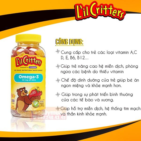 Công dụng chính từ kẹo gấubổ sung Omega 3 và DHA L'il Critters Gummy Fish