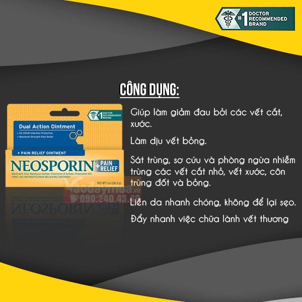Công dụng chính kem điều trị vết thương Neosporin