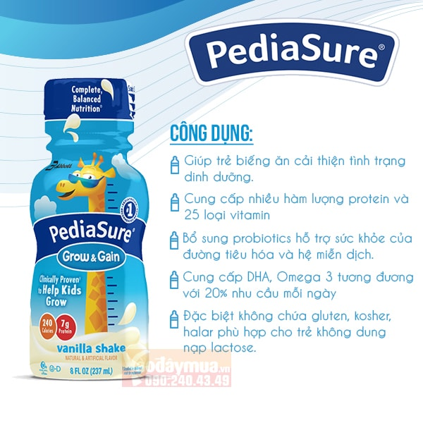 Hiệu quả tuyệt vời khi sử dụng sữa Pediasure