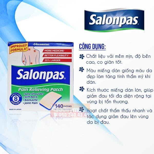 Công dụng chính miếng giảm đau salonpas của Mỹ