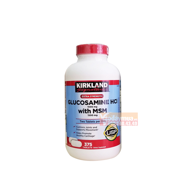 Hình ảnh tổng thể viên bổ khớp của MỹKirkland Signature Glucosamine HCL With MSM 1500mg
