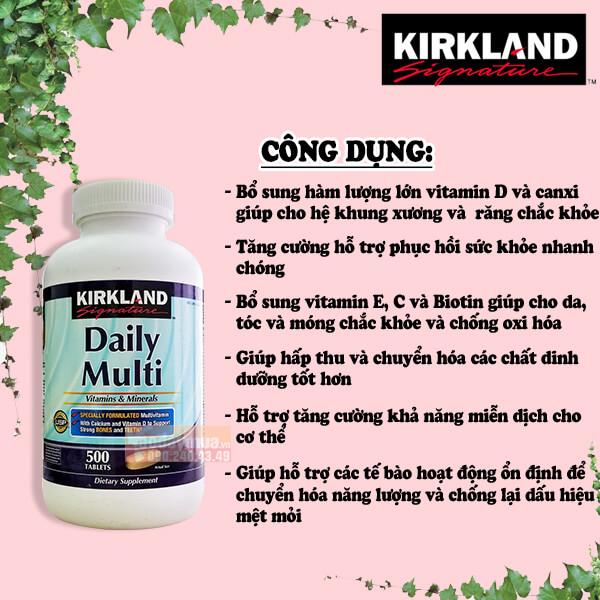 Công dụng chính củaviên uống vitamin tổng hợp Kirkland Daily Multi 500 viên