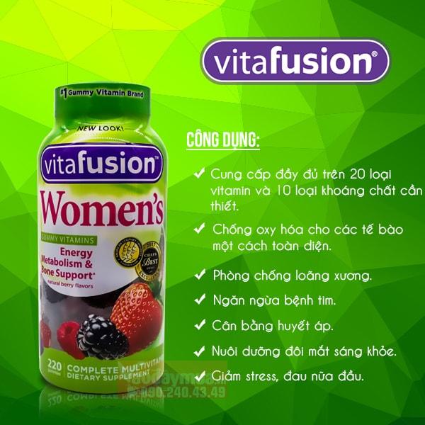 Tác dụng chính của Kẹo dẻo canxi của Mỹ dành cho phụ nữ Vitafusion Women's Multivitamin