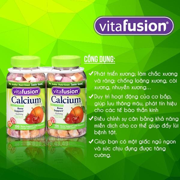 Công dụng chínhcủa Bộ đôi kẹo dẻo bổ sung Canxi của Mỹ Vitafusion Calcium