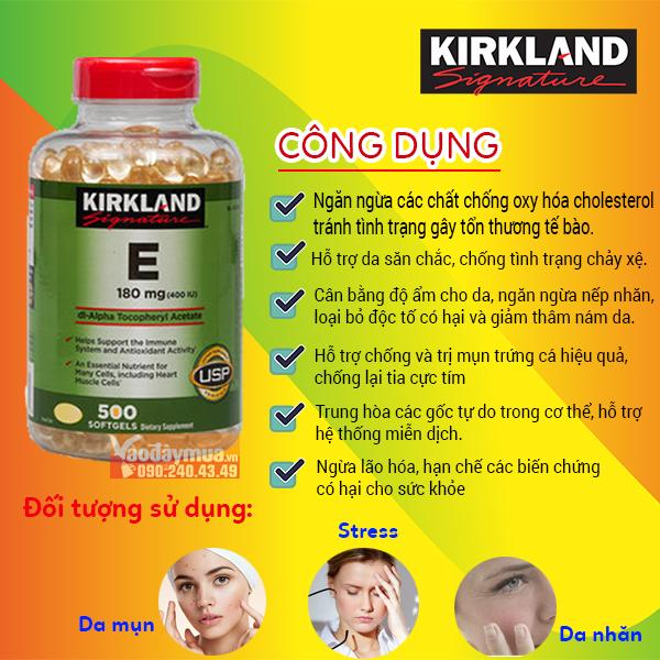 Công dụng chính của viên uống Kirkland vitamin E 400IU của Mỹ