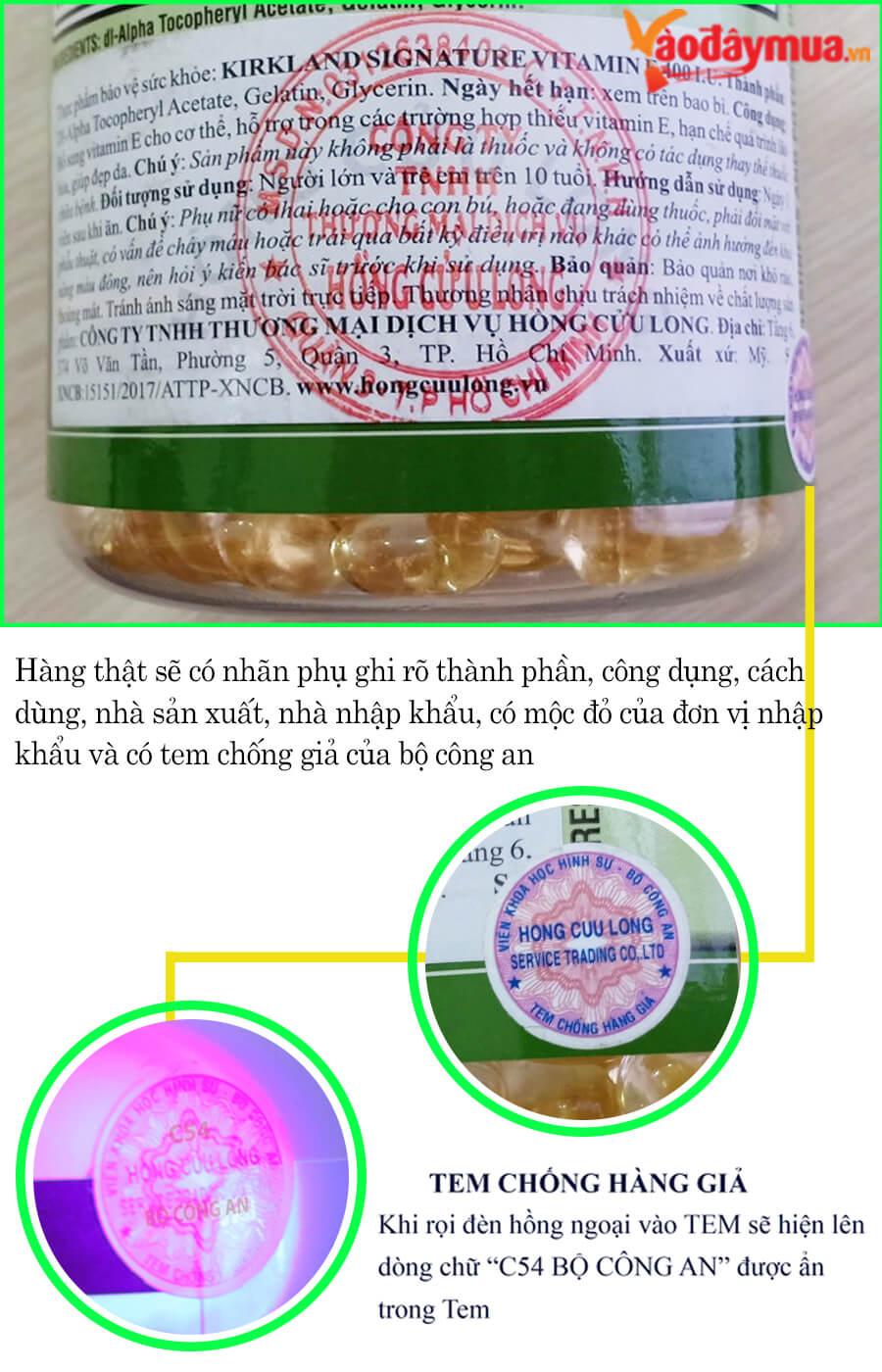Cách phân biệt Vitamin E 400IU nhập từ Mỹ và hàng nhái