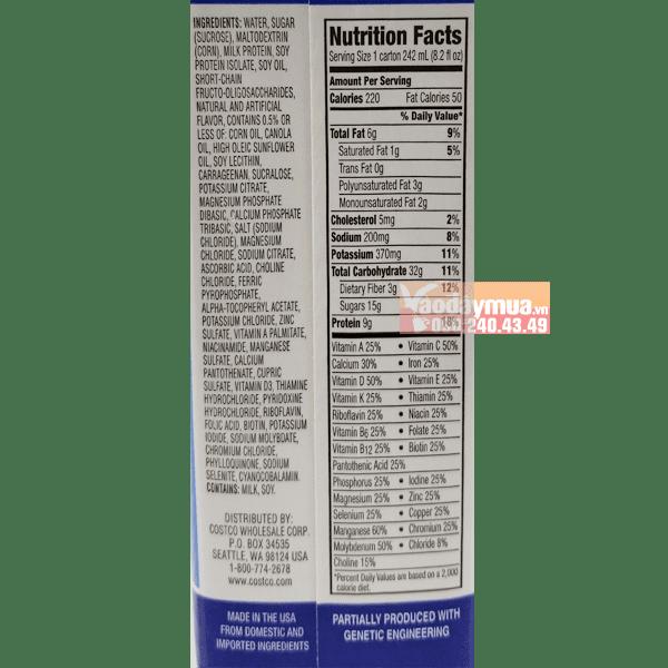 Thành phần dinh dưỡng trong sữa dinh dưỡng Kirkland