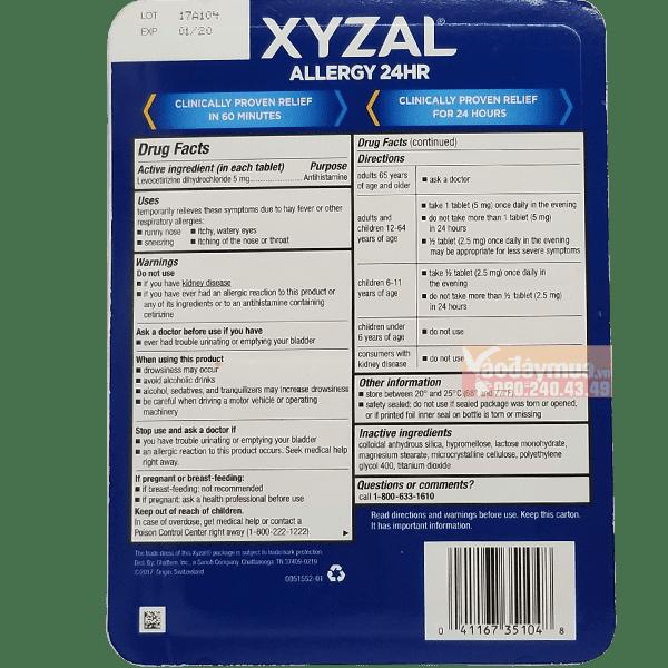 Thành phần dược phẩm có trong viên uống dị ứng XYZAL Allergy 24 HR