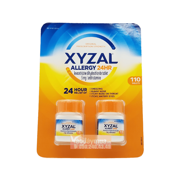 Hình ảnh tổng thể của viên uống chống dị ứng XYZAL 24HR của Mỹ
