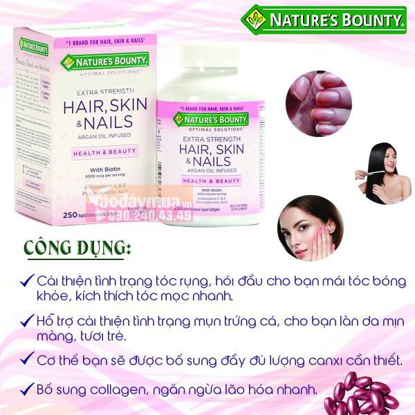 Công dụng chính có trongviên uống đẹp da tóc và móng Nature's Bounty Hair Skin & Nails