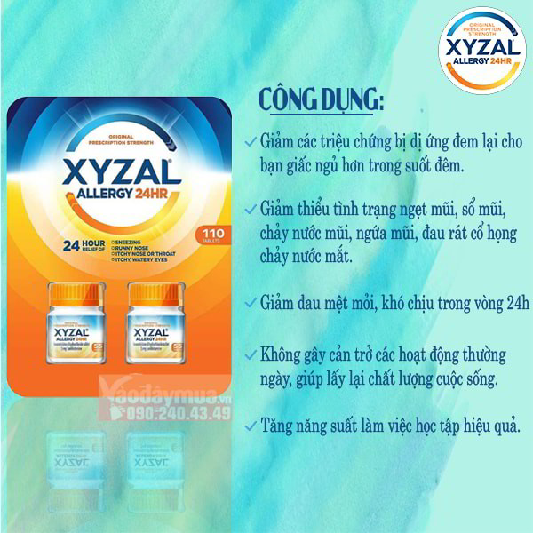 Công dụng chính của viên uống chống dị ứng XYZAL 24HR của Mỹ