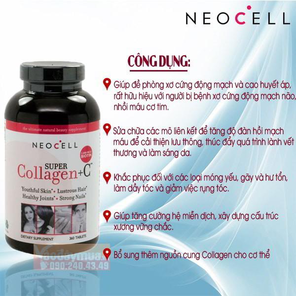 Công dụng chính từviên uống Neocell Super Collagen + C Type 1&3 của Mỹ