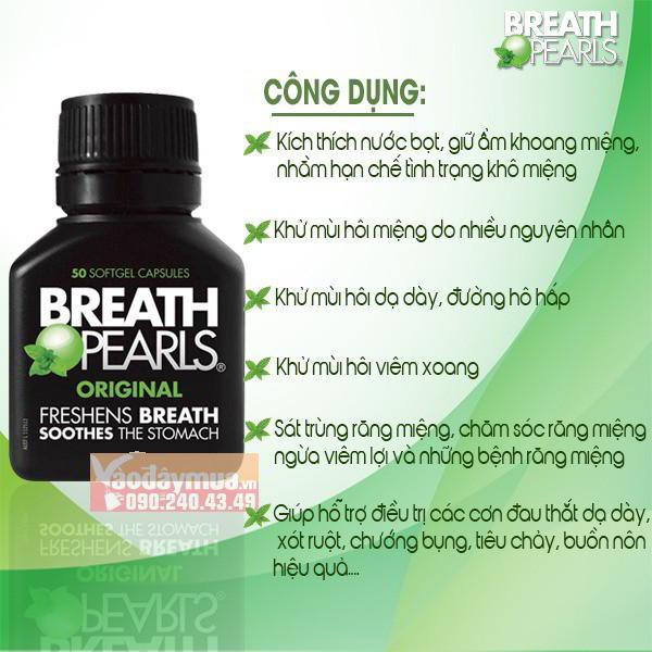 Công dụng chính có trong viên uống thơm miệng Breath Pearls của Mỹ